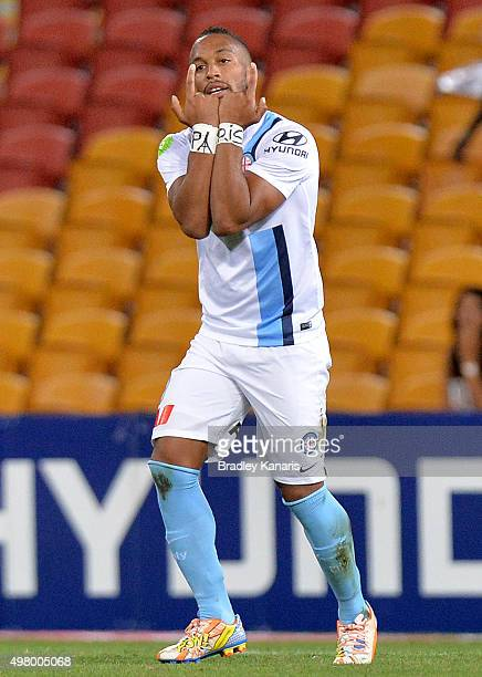 Harry Novillo of Melbourne City can be seen showing the word 'Paris' on his wrists in memory of those that were lost in the Paris terror attacks...