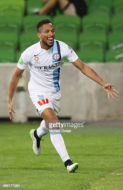 Harry Novillo of Melbourne City celebrates a goal during the round 21 ALeague match between Melbourne City FC and the Newcastle Jets at AAMI Park on...