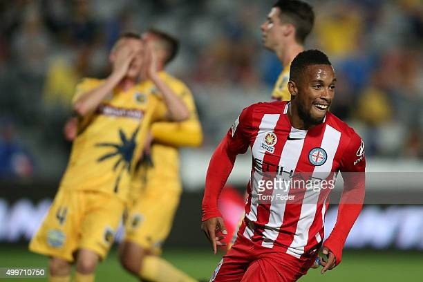 Harry Novillo of Melbourne City celebrates after scoring a goal during the round nine ALeague match between the Central Coast Mariners and Melbourne...