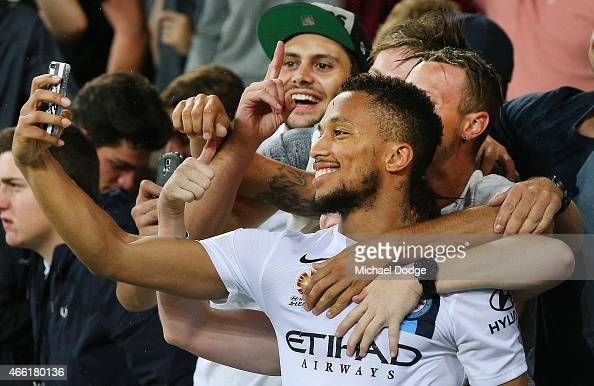 Harry Novillo of Melbourne City celebrates the win by taking a selfie with fans during the round 21 ALeague match between Melbourne City FC and the...
