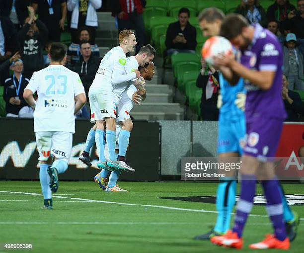 Harry Novillo of Melbourne City celebrates with team mates after scoring a goal during the round eight ALeague match between Melbourne City FC and...