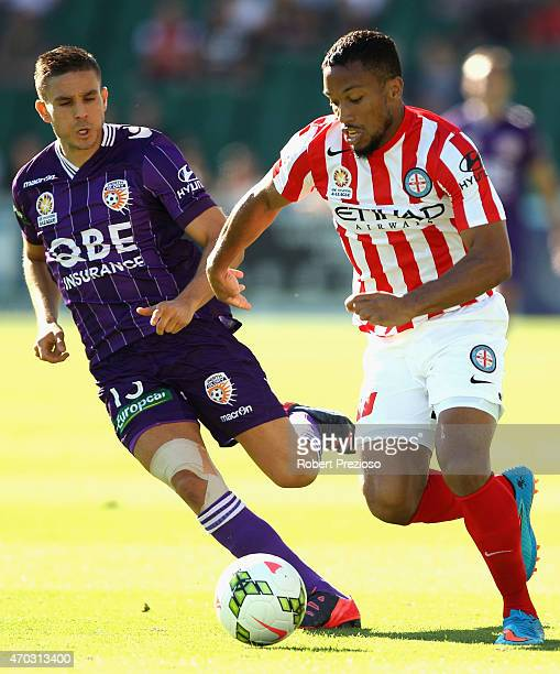 Harry Novillo of Melbourne City controls the ball during the round 26 ALeague match between the Perth Glory and Melbourne City FC at nib Stadium on...