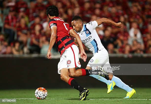 Harry Novillo of Melbourne City controls the ball uring the round 17 ALeague match between the Western Sydney Wanderers and Melbourne City FC at...