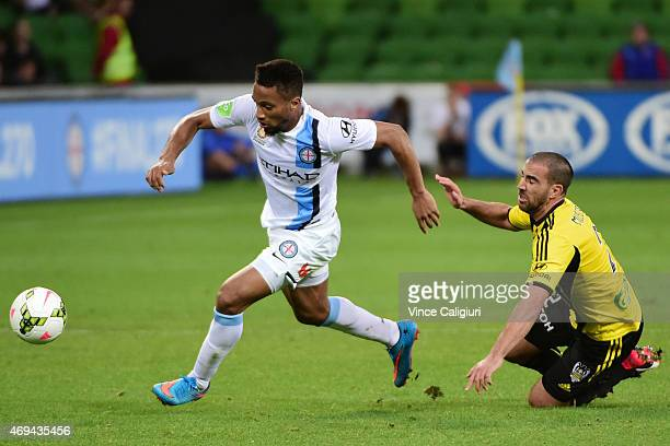 Harry Novillo of Melbourne City gets away from Manny Muscat of Wellington Phoenix during the round 25 ALeague match between the Melbourne Victory and...
