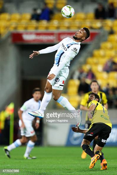 Harry Novillo of Melbourne City heads the ball during the ALeague Elimination match between the Wellington Phoenix and Melbourne City FC at Westpac...