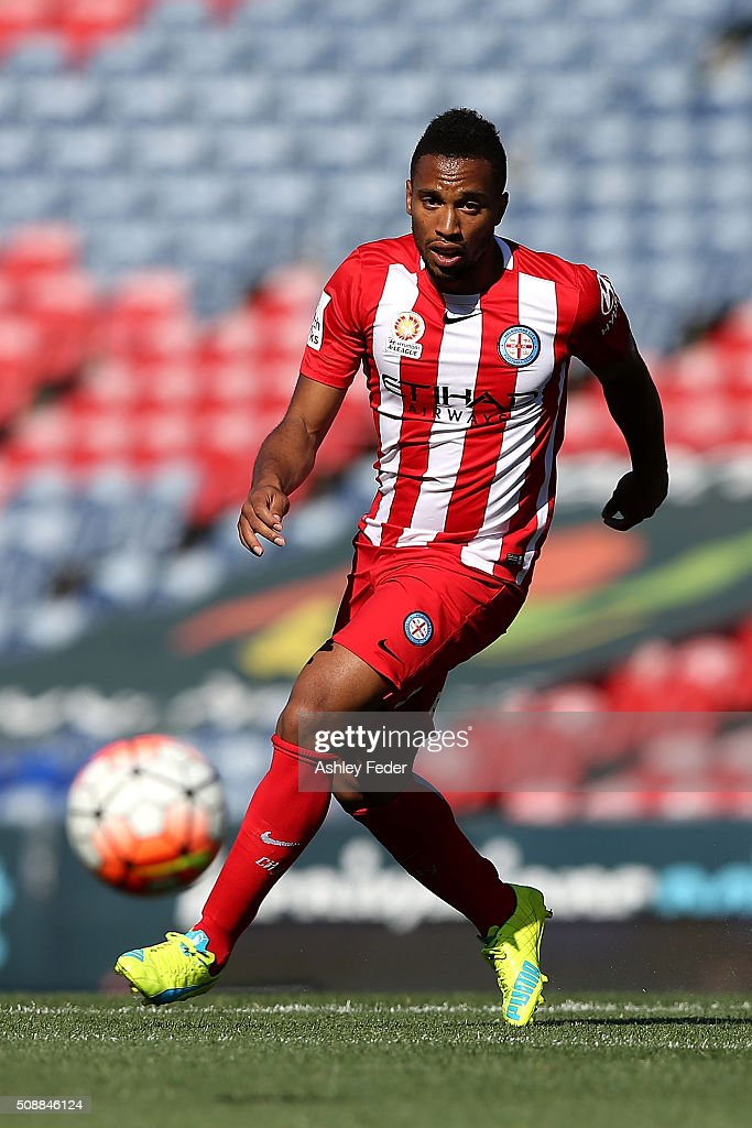 Harry Novillo of Melbourne City in action during the round 18 A-League match between the Newcastle Jets and Melbourne City FC at Hunter Stadium on February 7, 2016 in Newcastle, Australia.
