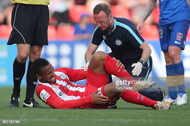Harry Novillo of Melbourne City is injured during the ALeague match between the Newcastle Jets and Melbourne City FC at Hunter Stadium on December 13...