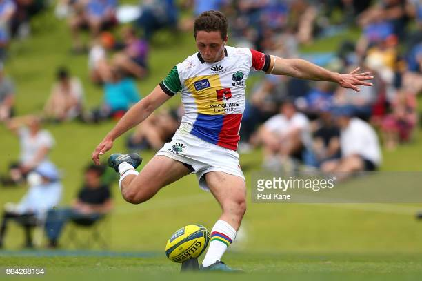 Harry Nucifora of the Rays takes a conversion kick during the round eight NRC match between Perth and the Sydney Rays at McGillivray Oval on October...