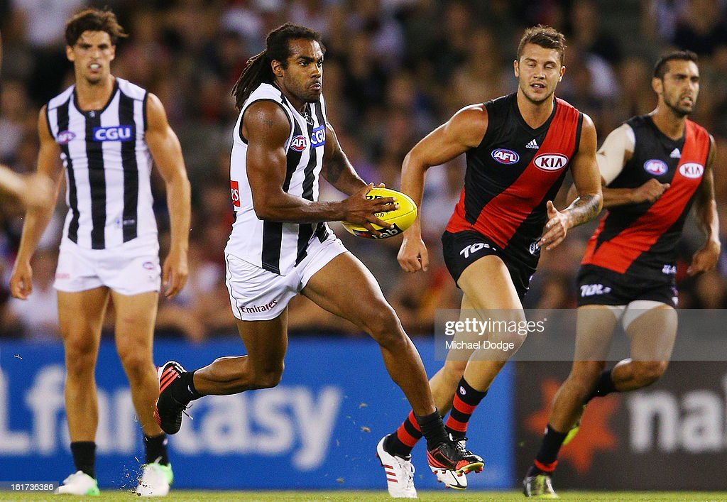 Harry O'Brien of the Collingwood Magpies runs with the ball during the round one AFL NAB Cup match between the Collingwood Magpies and the Essendon Bombers at Etihad Stadium on February 15, 2013 in Melbourne, Australia.
