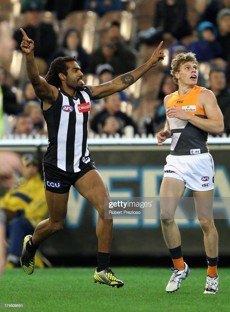 Harry O'Brien of the Magpies celebrates kicking a goal during the round 18 AFL match between the Collingwood Magpies and the Greater Western Sydney Giants at Melbourne Cricket Ground on July 27, 2013 in Melbourne, Australia.