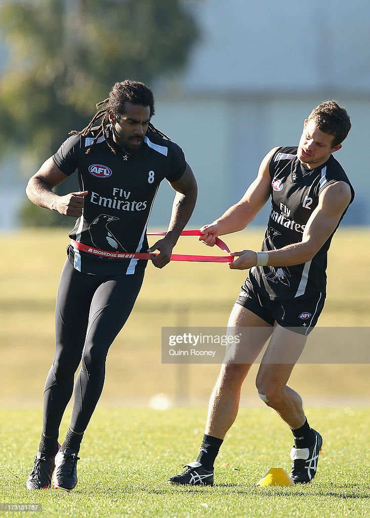 Harry O'Brien of the Magpies trains with Luke Ball during a Collingwood Magpies AFL training session at Olympic Park on July 9, 2013 in Melbourne, Australia.