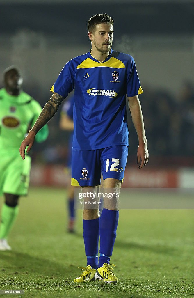 Harry Pell of AFC Wimbledon in action during the npower League Two match between AFC Wimbledon and Northampton Town at The Cherry Red Records Stadium on February 19, 2013 in Kingston upon Thames, England.