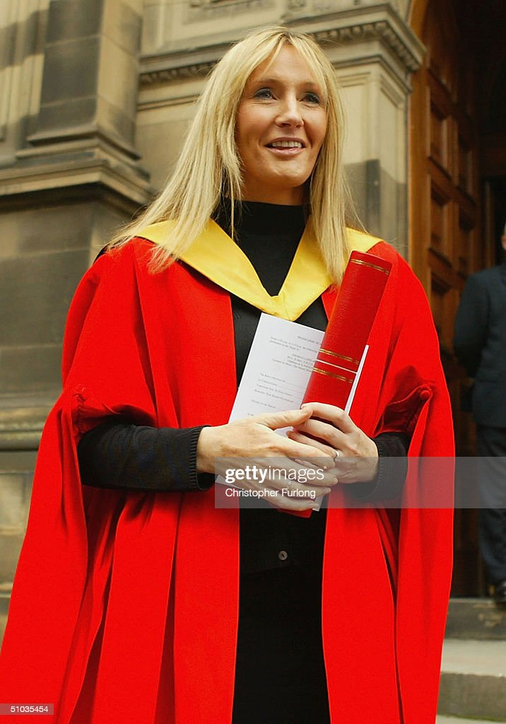 Harry Potter author JK Rowling receives an Honorary Degree of Doctor honoris causa at the University of Edinburgh's graduation ceremony in McEwan Hall on July 8, 2004 in Edinburgh, Scotland.