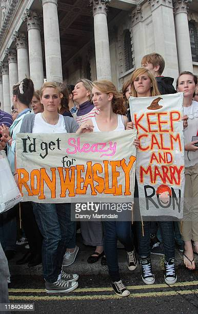 Harry Potter fans gather at the world premiere of 'Harry Potter And The Deathly Hallows Part 2' at Trafalgar Square on July 7 2011 in London England