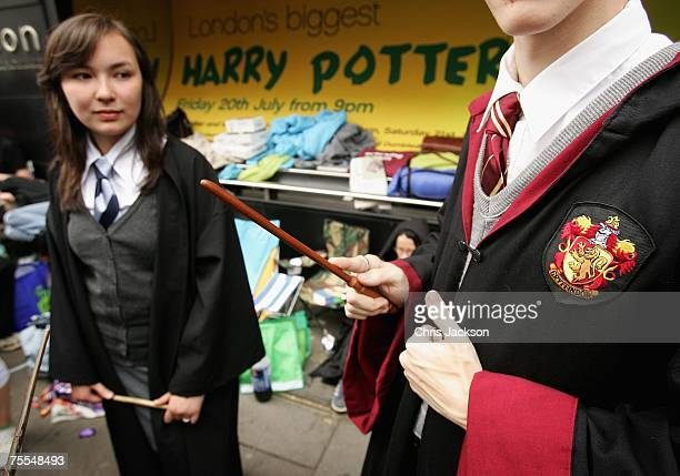 Harry Potter fans queue outside Waterstones in Piccadilly in anticipation of the release of the final Harry Potter book on July 19 2007 in London...