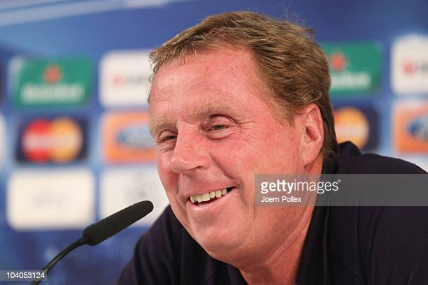 Harry Redknapp head coach of Tottenham attends the press conference ahead of Tottenhams Champion's League firstround football match against Werder...