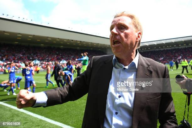 Harry Redknapp Manager of Birmingham City celebrates after his side avoid relegation after the Sky Bet Championship match between Bristol City and...