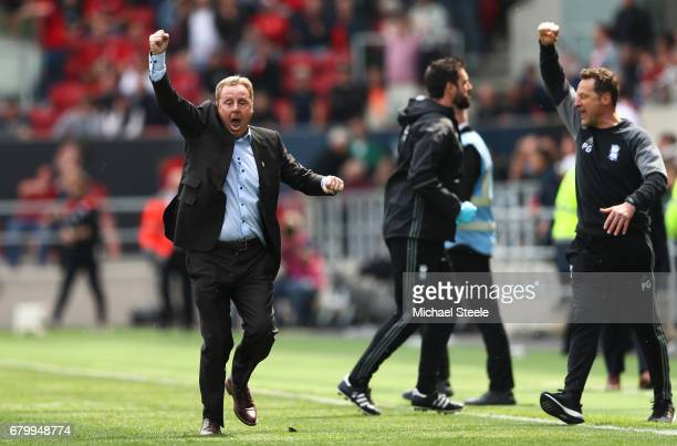 Harry Redknapp Manager of Birmingham City celerbates as his team avoid relegation during the Sky Bet Championship match between Bristol City and...
