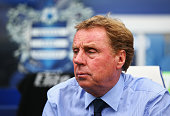 Harry Redknapp manager of QPR looks on during the Barclays Premier League match between Queens Park Rangers and Stoke City at Loftus Road on...