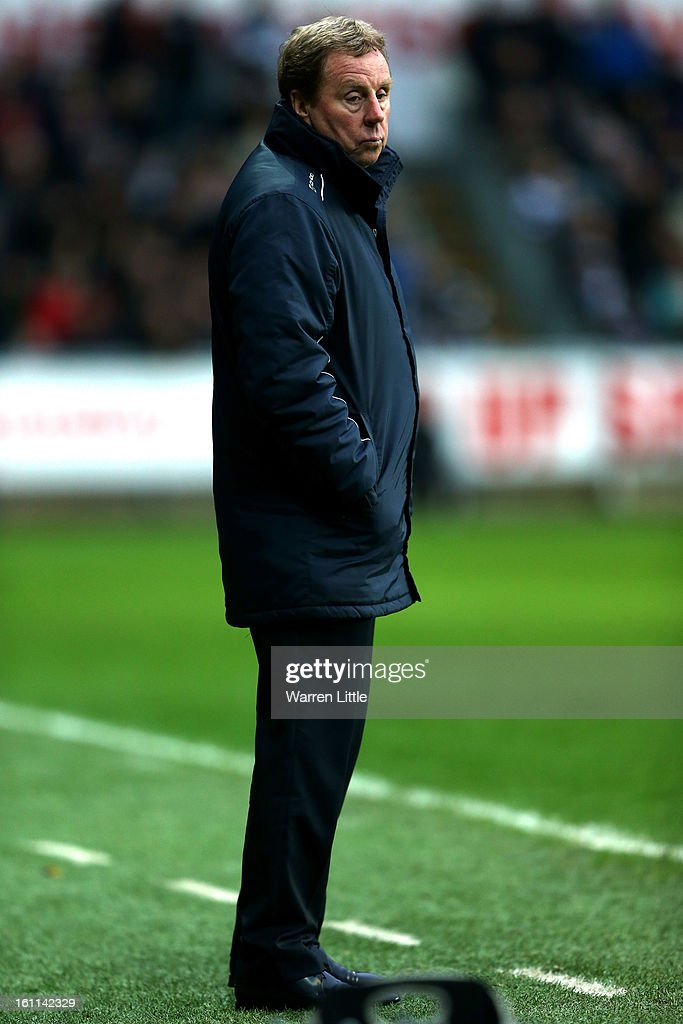 Harry Redknapp, manager of Queens Park Ranger looks on during the Premier League match between Swansea City and Queens Park Rangers at Liberty Stadium on February 9, 2013 in Swansea, Wales.