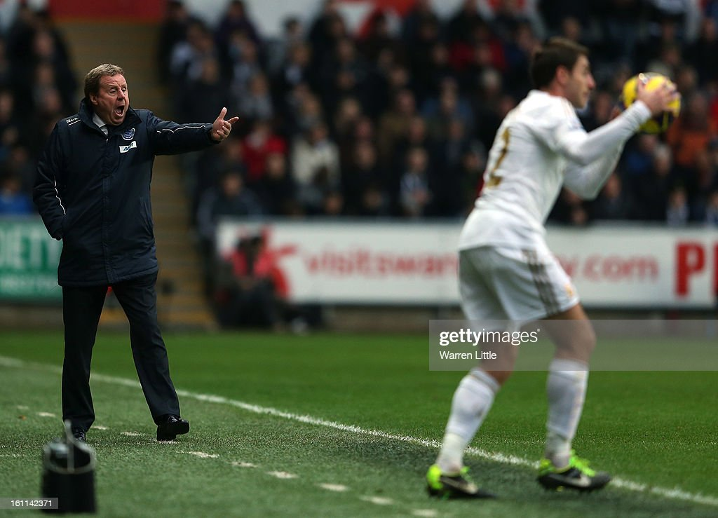 Harry Redknapp, manager of Queens Park Rangers appeals to Referee Swarbrick during the Premier League match between Swansea City and Queens Park Rangers at Liberty Stadium on February 9, 2013 in Swansea, Wales.