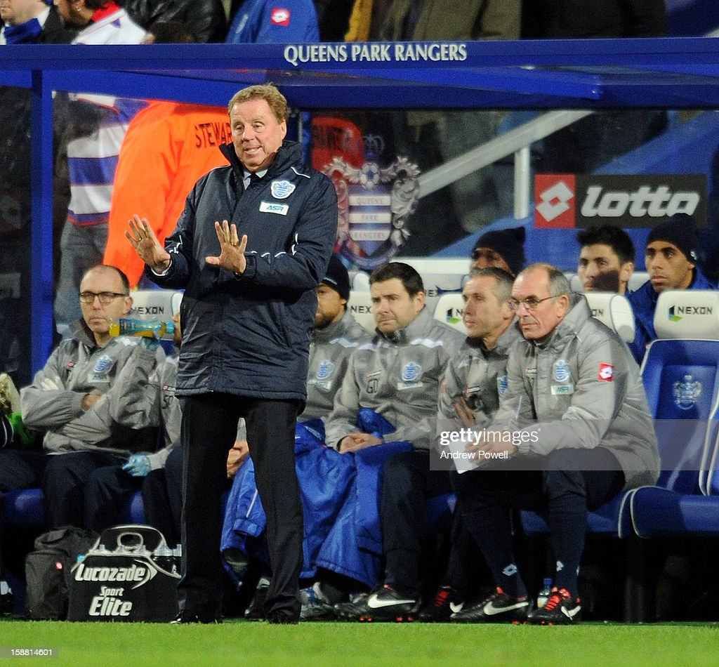 Harry Redknapp manager of Queens Park Rangers during the Barclays Premier League match between Queens Park Rangers and Liverpool at Loftus Road on December 30, 2012 in London, England.