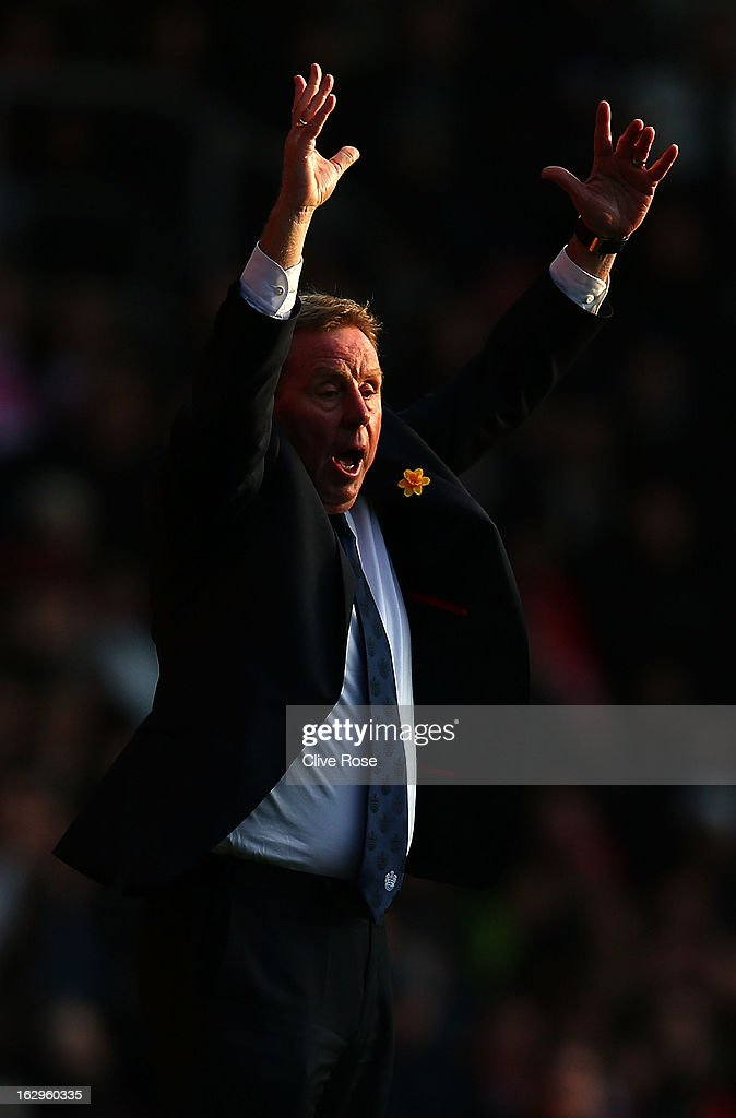 <a gi-track='captionPersonalityLinkClicked' href=/galleries/search?phrase=Harry+Redknapp&family=editorial&specificpeople=204768 ng-click='$event.stopPropagation()'>Harry Redknapp</a> of Queens Park Rangers reacts during the Barclays Premier League match between Southampton and Queens Park Rangers at St Mary's Stadium on March 2, 2013 in Southampton, England.