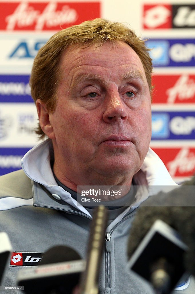 Harry Redknapp of Queens Park Rangers speaks to the media during a press conference on January 18, 2013 in Harlington, England.