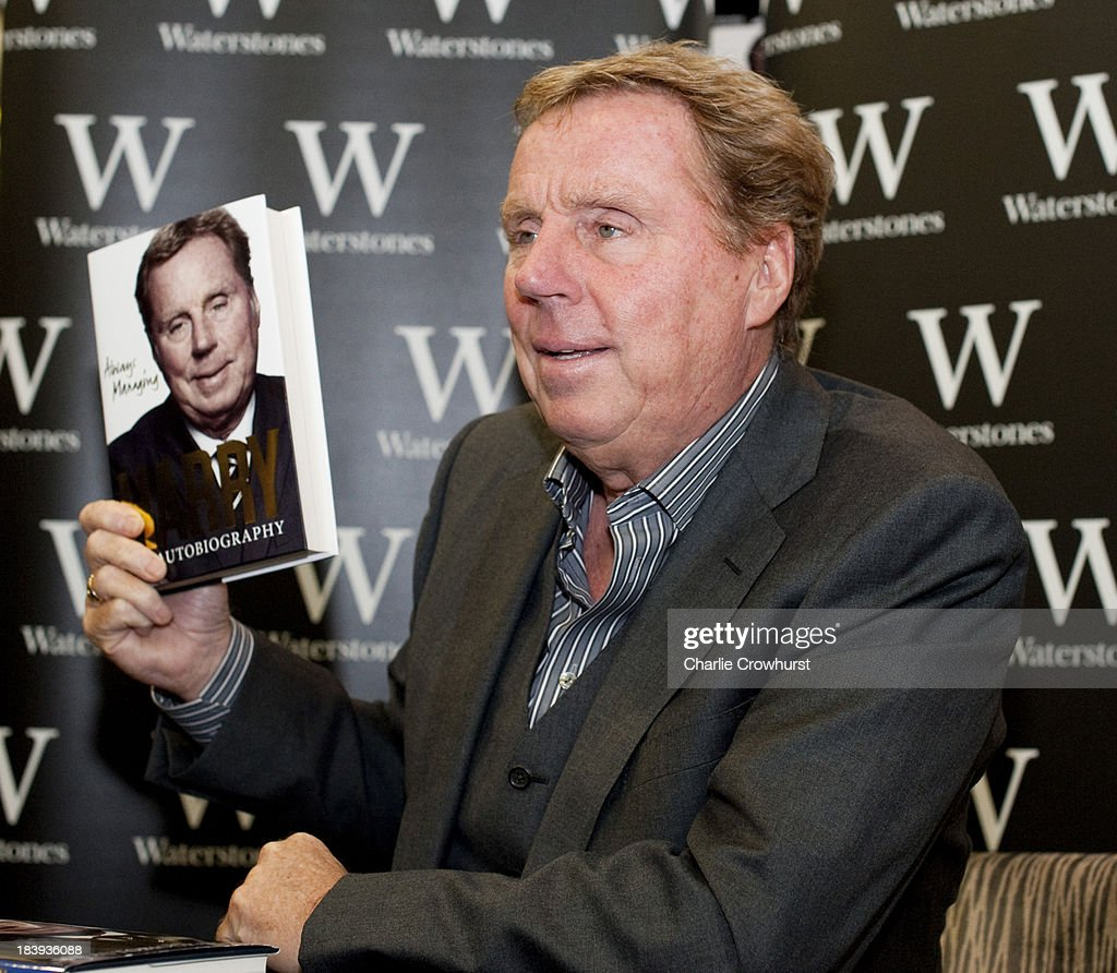 <a gi-track='captionPersonalityLinkClicked' href=/galleries/search?phrase=Harry+Redknapp&family=editorial&specificpeople=204768 ng-click='$event.stopPropagation()'>Harry Redknapp</a> poses with a copy of his autobiography 'Always Managing' during a book signing session at Waterstone's on October 10, 2013 in London, England.