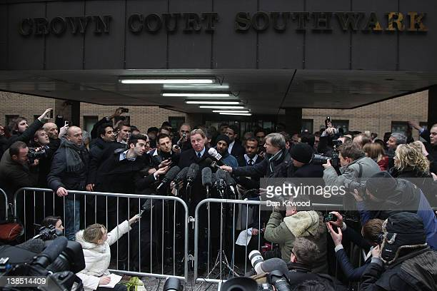 Harry Redknapp speaks to the gathered media outside Southwark Crown Court on February 8 2012 in London England Football manager Harry Redknapp and...