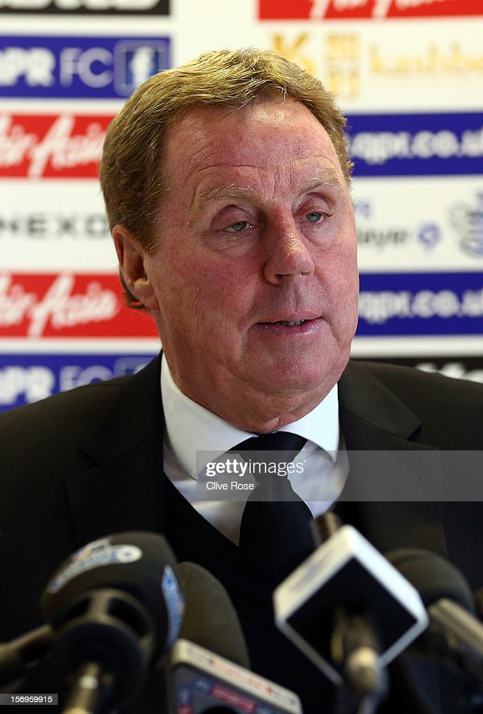 <a gi-track='captionPersonalityLinkClicked' href=/galleries/search?phrase=Harry+Redknapp&family=editorial&specificpeople=204768 ng-click='$event.stopPropagation()'>Harry Redknapp</a> talks during a press conference after being unveiled as the new Queens Park Rangers Manager on November 26, 2012 in Harlington, England.