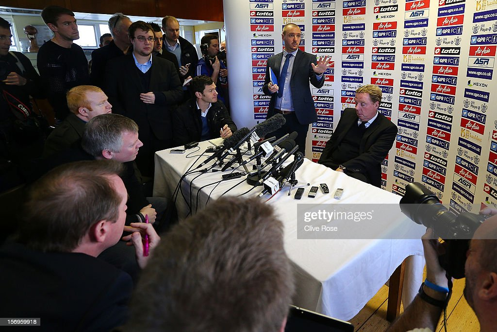 Harry Redknapp talks during a press conference after being unveiled as the new Queens Park Rangers Manager on November 26, 2012 in Harlington, England.