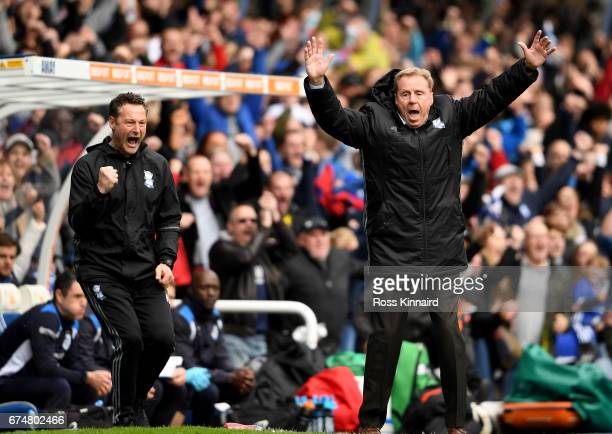 Harry Redknapp the manager of Birmingham City celebrates after the opening goal during the Sky Bet Championship match between Birmingham City and...