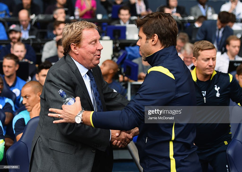 <a gi-track='captionPersonalityLinkClicked' href=/galleries/search?phrase=Harry+Redknapp&family=editorial&specificpeople=204768 ng-click='$event.stopPropagation()'>Harry Redknapp</a> (L), the QPR manager shakes hands with <a gi-track='captionPersonalityLinkClicked' href=/galleries/search?phrase=Mauricio+Pochettino&family=editorial&specificpeople=234444 ng-click='$event.stopPropagation()'>Mauricio Pochettino</a>, the Spurs manager prior to the Barclays Premier League match between Tottenham Hotspur and Queens Park Rangers at White Hart Lane on August 24, 2014 in London, England.