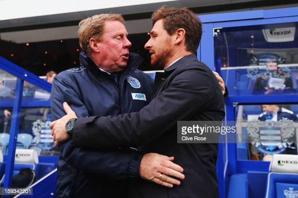 Harry Redknapp the Queens Park Rangers manager and Andre VillasBoas the Tottenham Hotspur manager exchange greetings before the start of the Barclays...