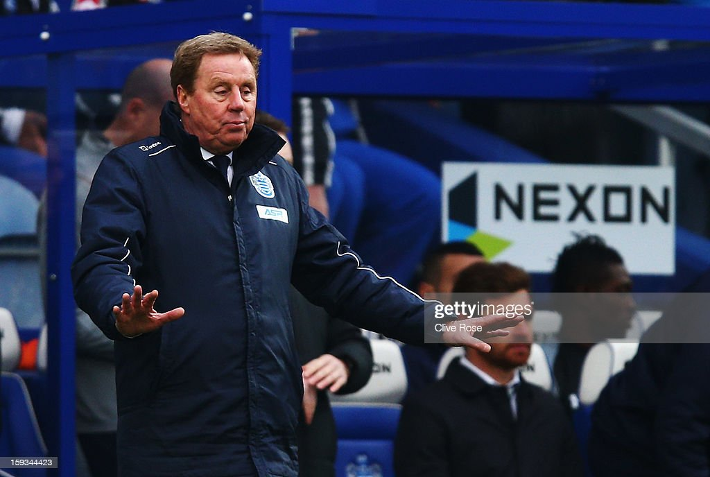 <a gi-track='captionPersonalityLinkClicked' href=/galleries/search?phrase=Harry+Redknapp&family=editorial&specificpeople=204768 ng-click='$event.stopPropagation()'>Harry Redknapp</a> the Queens Park Rangers manager gives instructions from the touchline during the Barclays Premier League match between Queens Park Rangers and Tottenham Hotspur at Loftus Road on January 12, 2013 in London, England.