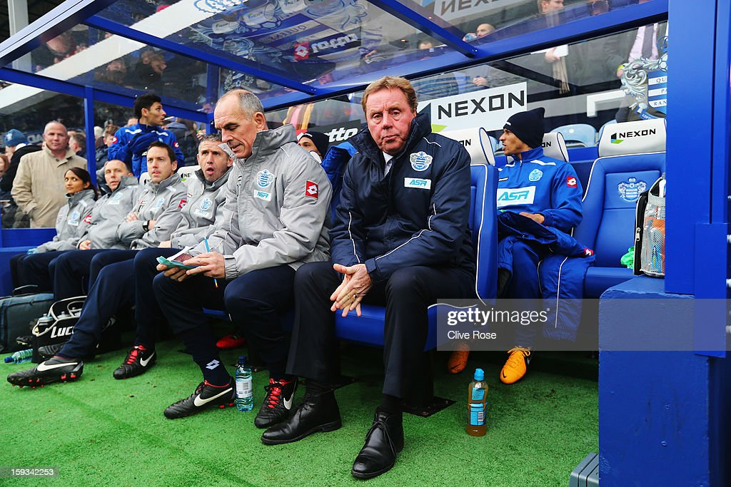 Harry Redknapp the Queens Park Rangers manager is seen in the dug out before the Barclays Premier League match between Queens Park Rangers and Tottenham Hotspur at Loftus Road on January 12, 2013 in London, England.