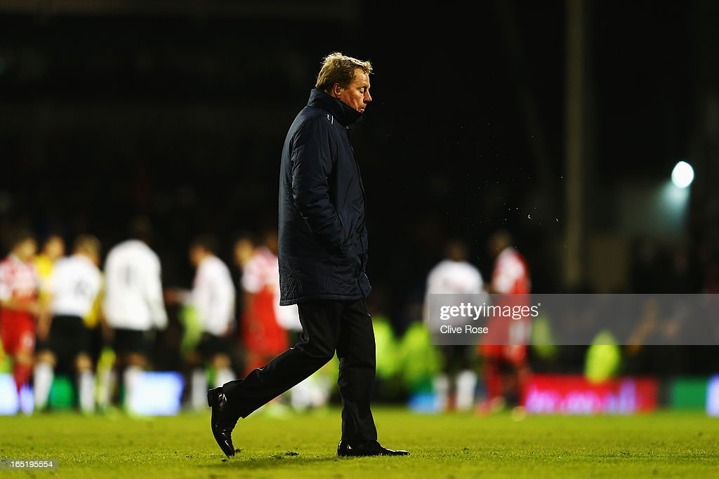 <a gi-track='captionPersonalityLinkClicked' href=/galleries/search?phrase=Harry+Redknapp&family=editorial&specificpeople=204768 ng-click='$event.stopPropagation()'>Harry Redknapp</a> the Queens Park Rangers manager reacts as he walks off at the end of the Barclays Premier League match between Fulham and Queens Park Rangers at Craven Cottage on April 1, 2013 in London, England.