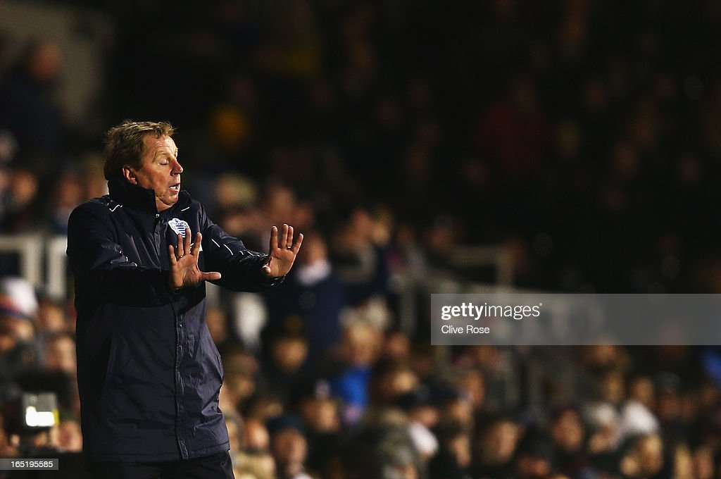 <a gi-track='captionPersonalityLinkClicked' href=/galleries/search?phrase=Harry+Redknapp&family=editorial&specificpeople=204768 ng-click='$event.stopPropagation()'>Harry Redknapp</a> the Queens Park Rangers manager reacts on the touchline during the Barclays Premier League match between Fulham and Queens Park Rangers at Craven Cottage on April 1, 2013 in London, England.