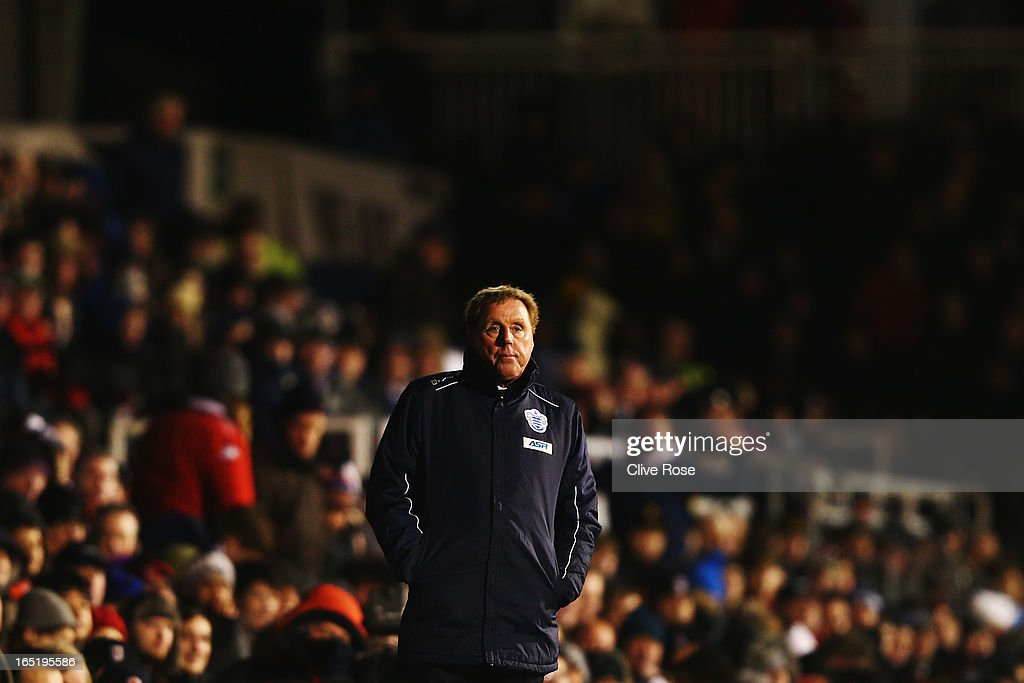 Harry Redknapp the Queens Park Rangers manager reacts on the touchline during the Barclays Premier League match between Fulham and Queens Park Rangers at Craven Cottage on April 1, 2013 in London, England.
