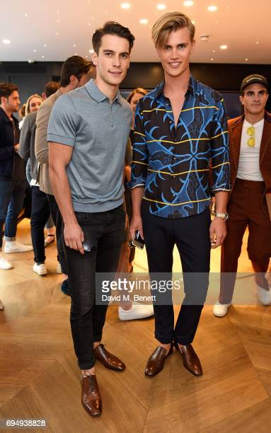 Harry Rowley and Samuel Harwood attend the Aston Martin x Hogan London Fashion Week Men's Cocktail in partnership with GQ Style on June 11 2017 in...