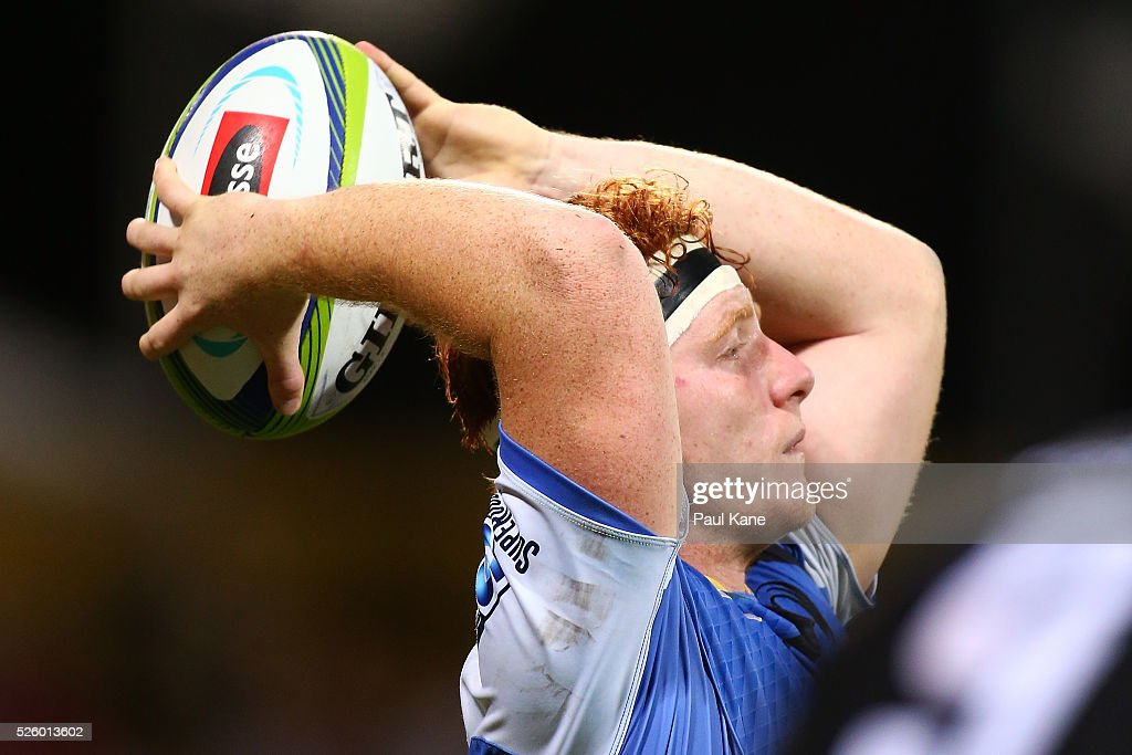 Harry Scoble of the Force throws the ball in for a line-out during the round 10 Super Rugby match between the Force and the Bulls at nib Stadium on April 29, 2016 in Perth, Australia.