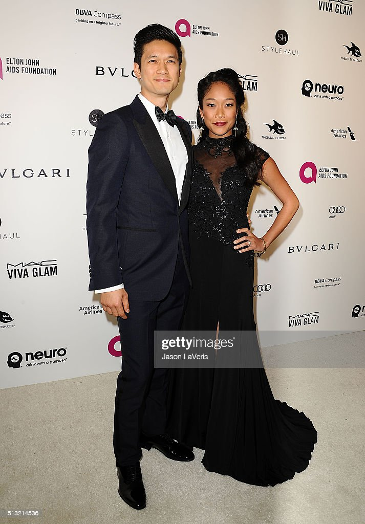 Harry Shum Jr and Shelby Rabara attend the 24th annual Elton John AIDS Foundation's Oscar viewing party on February 28 2016 in West Hollywood...