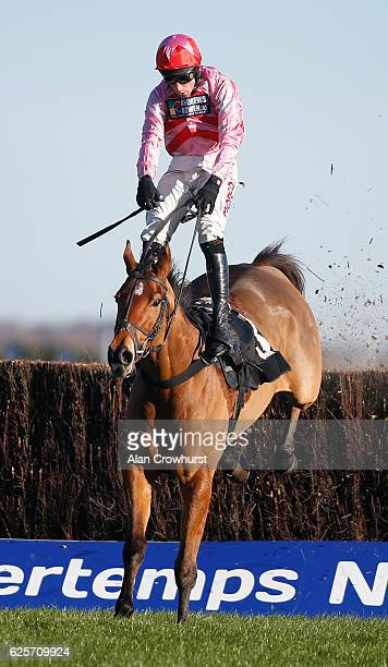 Harry Skelton riding Knockgraffon clear the last to win The bet365 Steeple Chase at Newbury Racecourse on November 25 2016 in Newbury England