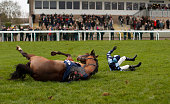 Harry Skelton riding Value At Risk fall at the open ditch in The Racing UK Profits Returned To Racing Novices' Steeple Chase at Huntingdon racecourse...