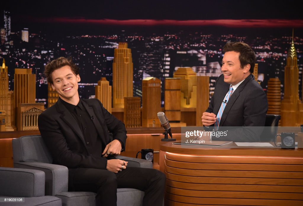 Harry Styles and host Jimmy Fallon visit 'The Tonight Show Starring Jimmy Fallon' at Rockefeller Center on July 19, 2017 in New York City.