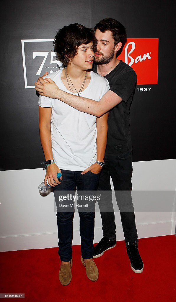 <a gi-track='captionPersonalityLinkClicked' href=/galleries/search?phrase=Harry+Styles&family=editorial&specificpeople=7229830 ng-click='$event.stopPropagation()'>Harry Styles</a> (L) and <a gi-track='captionPersonalityLinkClicked' href=/galleries/search?phrase=Jack+Whitehall&family=editorial&specificpeople=5726669 ng-click='$event.stopPropagation()'>Jack Whitehall</a> attend as Dazed & Confused presents Ray-Ban's 75th Anniversary celebration with Primal Scream and Kim Gordon of Sonic Youth at the Islington Assembly Hall on September 13, 2012 in London, England.