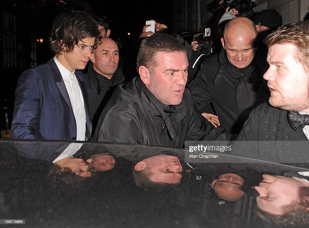 <a gi-track='captionPersonalityLinkClicked' href=/galleries/search?phrase=Harry+Styles&family=editorial&specificpeople=7229830 ng-click='$event.stopPropagation()'>Harry Styles</a> and <a gi-track='captionPersonalityLinkClicked' href=/galleries/search?phrase=James+Corden&family=editorial&specificpeople=673860 ng-click='$event.stopPropagation()'>James Corden</a> sighting at Loulou's on January 9, 2013 in London, England.