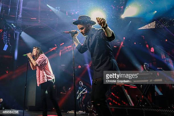 Harry Styles and Liam Payne of One Direction perform on stage as part of Apple Music Festival at The Roundhouse on September 22 2015 in London England
