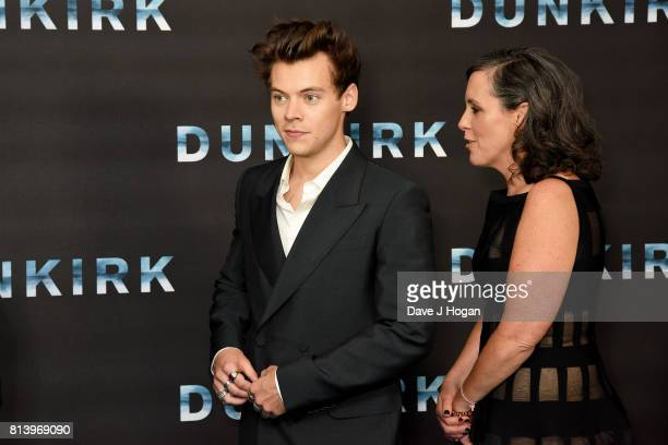 Harry Styles and producer Emma Thomas attend the preview screening of 'Dunkirk' at BFI Southbank on July 13 2017 in London England